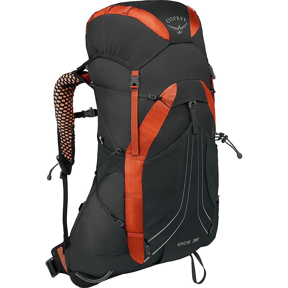Osprey Exos 38 Hiking Backpack Blaze Black – LG - Osprey Backpacking Packs - Outdoor, Backpacking Packs