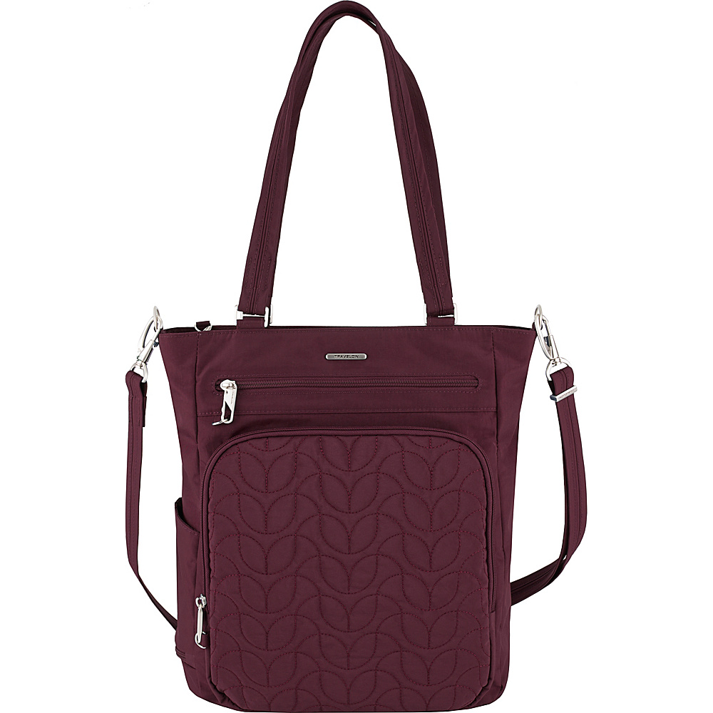 Travelon Anti-Theft Quilted Tote - Exclusive Dark Bordeaux/Dusty Rose Interior - Travelon Fabric Handbags - Handbags, Fabric Handbags