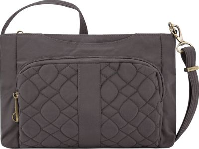 Travelon Anti-Theft Signature Quilted E/W Slim Bag Smoke/Plum Interior - Travelon Fabric Handbags