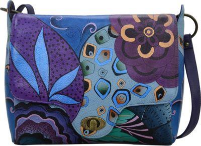 ANNA by Anuschka Hand Painted Leather Flap Messenger Tribal Potpourri Eggplant - ANNA by Anuschka Leather Handbags