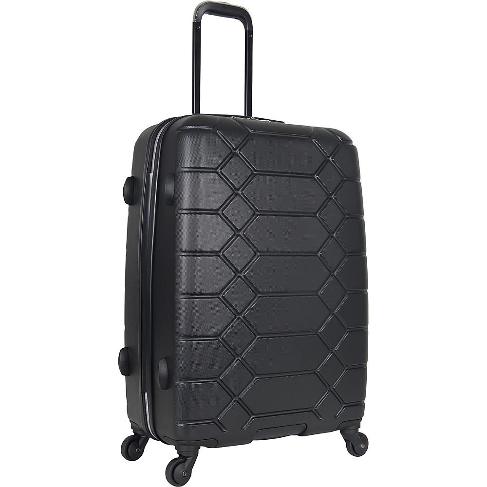 "Image of Aimee Kestenberg Diamond Anaconda 24"" Lightweight Hardside Spinner Checked Luggage Black with Silver Hardware - Aimee Kestenberg Hardside Checked"
