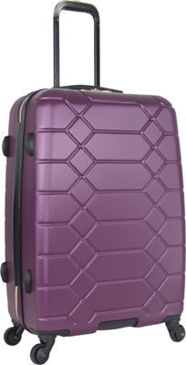 "Image of Aimee Kestenberg Diamond Anaconda 24"" Lightweight Hardside Spinner Checked Luggage Plum With Gold Hardware - Aimee Kestenberg Hardside Checked"