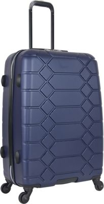 "Image of Aimee Kestenberg Diamond Anaconda 24"" Lightweight Hardside Spinner Checked Luggage Navy With Silver Hardware - Aimee Kestenberg Hardside Checked"
