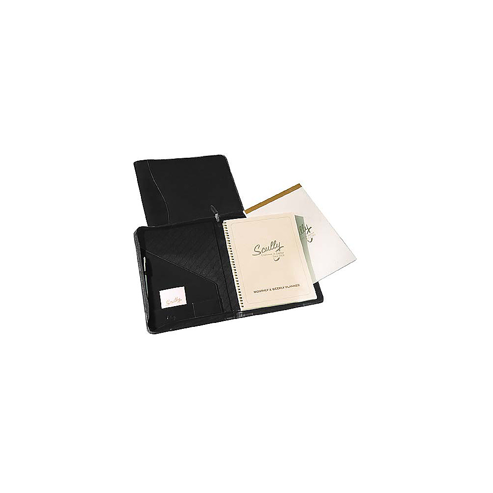 Scully Nappa Leather Zip Planner and Letter Pad Black