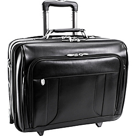 Lasalle Leather 17'' Wheeled Laptop Overnighter Black