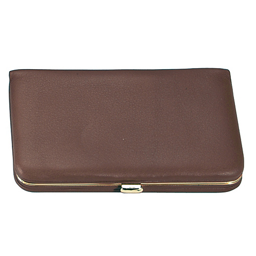 Royce Leather Framed Business Card Wallet - Coco/Coco