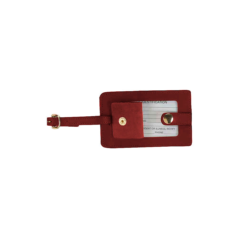 Royce Leather Snap Luggage Tag - Red