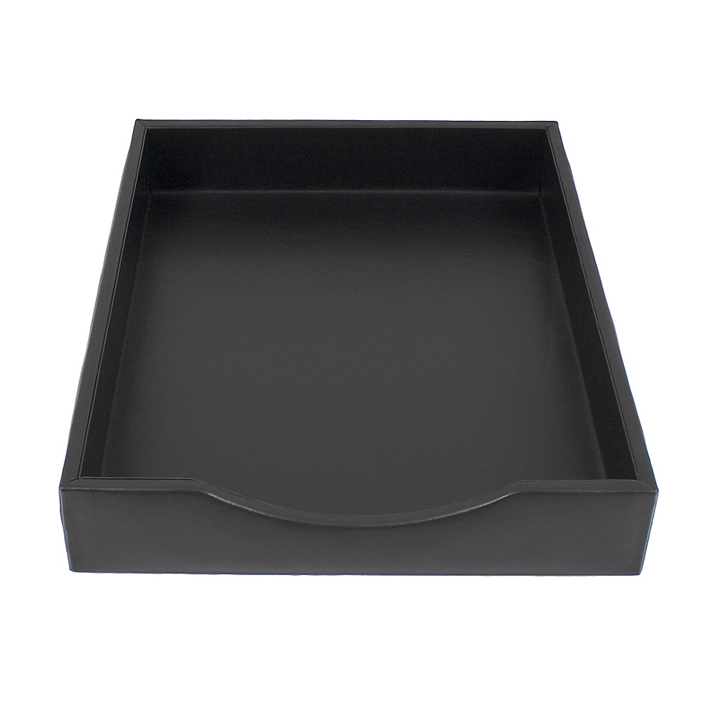 Bosca Nappa Vitello Letter Tray without Lid Black