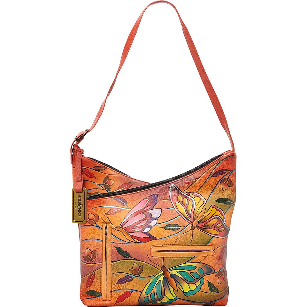 Anuschka V-Top Hobo Angel Wings Tangerine - Anuschka Leather Handbags