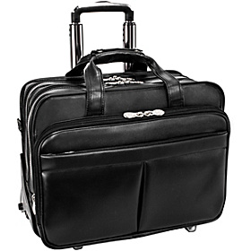 Roosevelt Leather Detachable Wheeled 17'' Laptop Case  Black