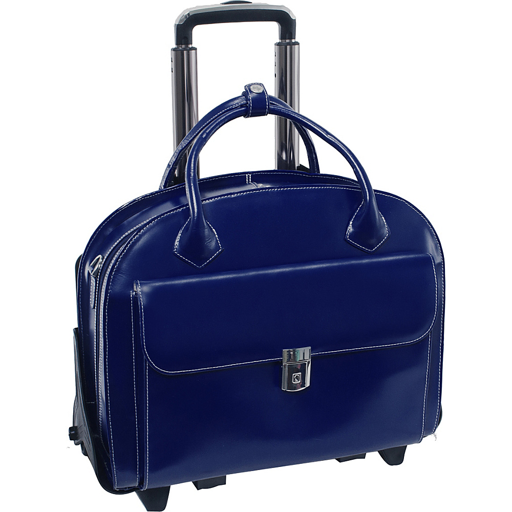 McKlein USA W Series Glen Ellyn Leather Detachable-Wheeled Womens 15.4 Laptop Case Navy - McKlein USA Wheeled Business Cases - Work Bags & Briefcases, Wheeled Business Cases