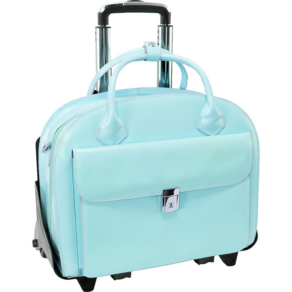 McKlein USA W Series Glen Ellyn Leather Detachable-Wheeled Womens 15.4 Laptop Case Aqua Blue - McKlein USA Wheeled Business Cases - Work Bags & Briefcases, Wheeled Business Cases