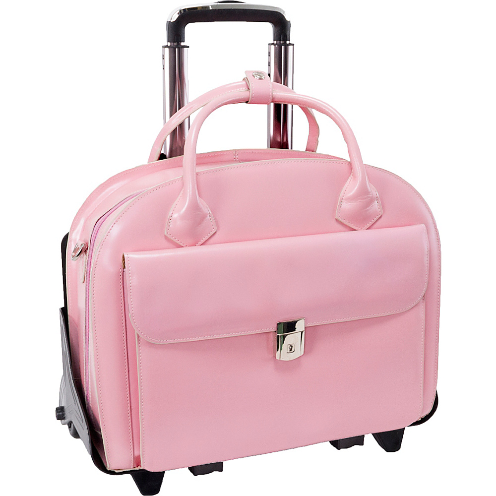 McKlein USA W Series Glen Ellyn Leather Detachable-Wheeled Womens 15.4 Laptop Case Pink - McKlein USA Wheeled Business Cases - Work Bags & Briefcases, Wheeled Business Cases