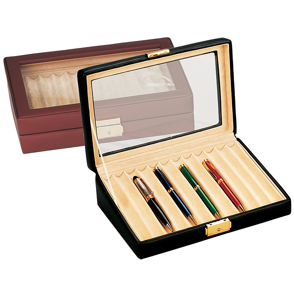 Budd Leather Leather 12 Pen Box w/ Glass Top - Black - Work Bags & Briefcases, Business Accessories