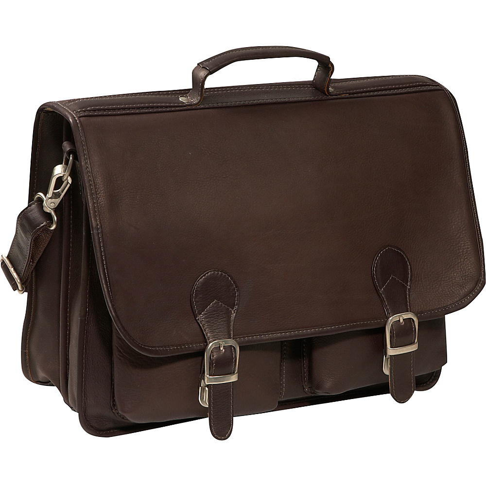 Piel Executive Two Pocket Portfolio - Chocolate - Work Bags & Briefcases, Non-Wheeled Business Cases