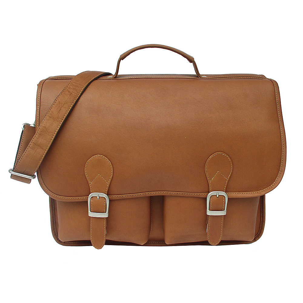 Piel Executive Two Pocket Portfolio - Saddle - Work Bags & Briefcases, Non-Wheeled Business Cases