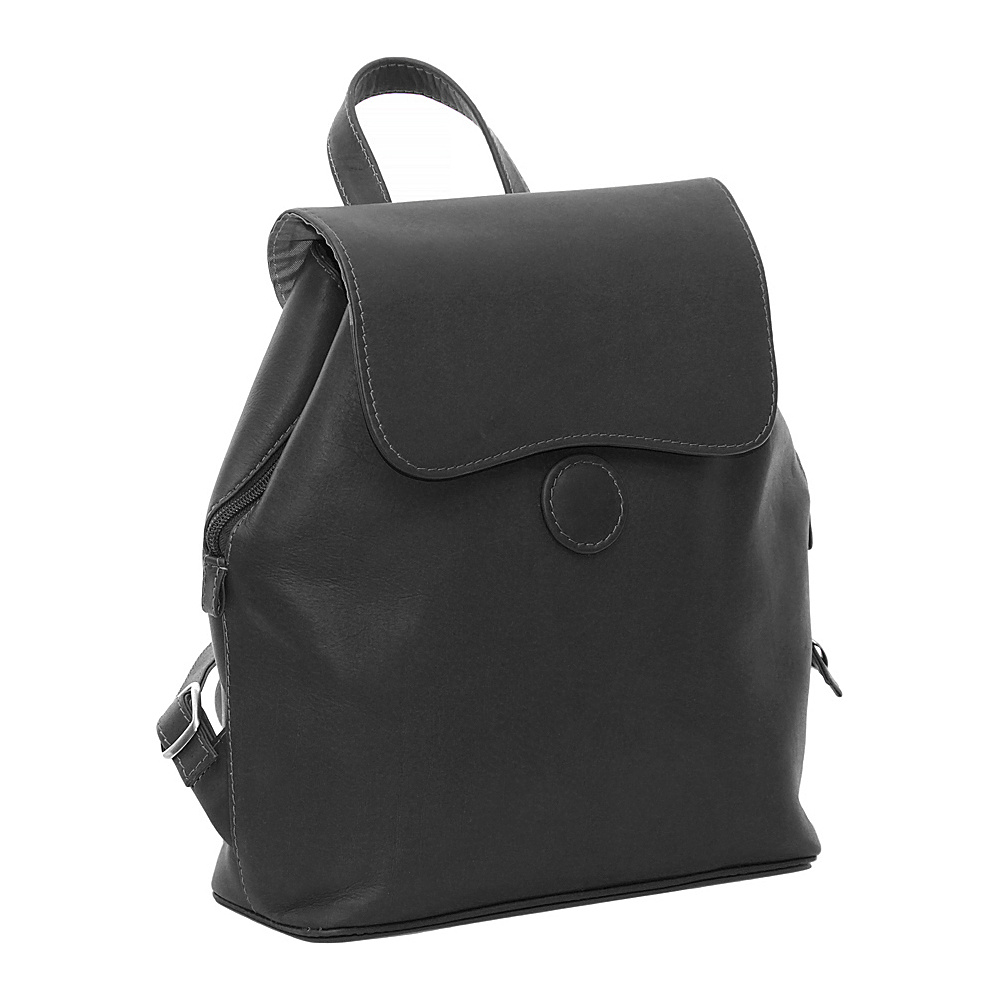 Piel Ladies Backpack - Black - Handbags, Leather Handbags
