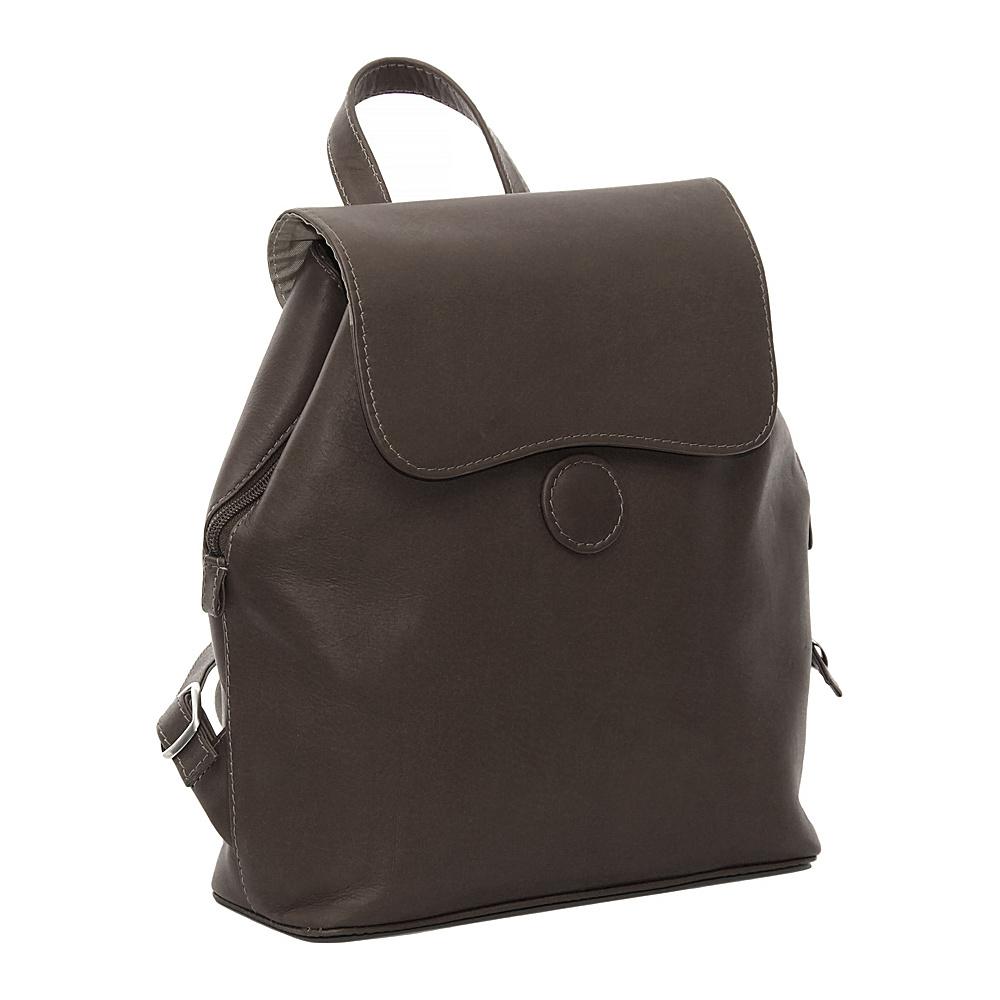 Piel Ladies Backpack - Chocolate - Handbags, Leather Handbags