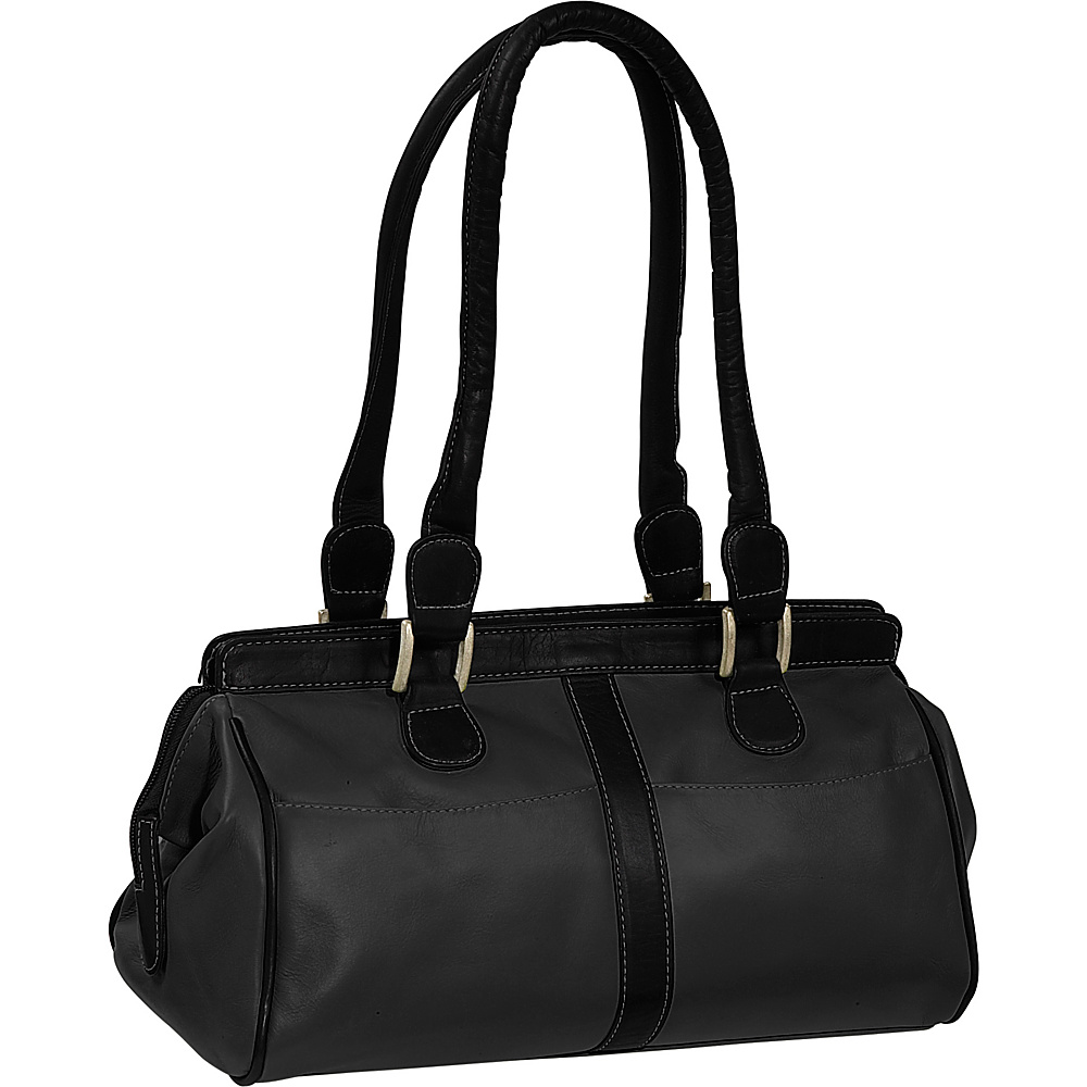 Piel Double Handle Handbag - Black - Handbags, Leather Handbags