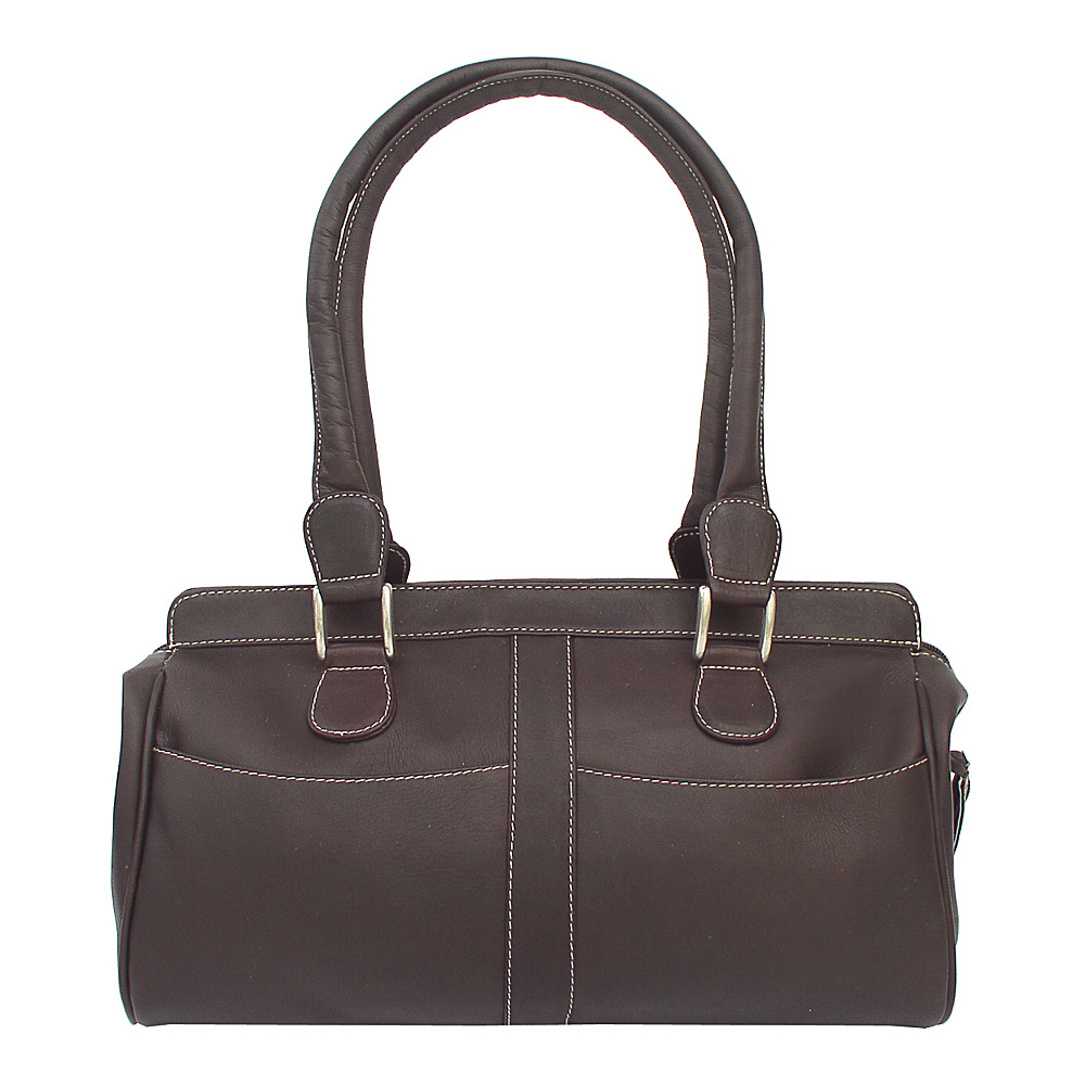 Piel Double Handle Handbag - Chocolate - Handbags, Leather Handbags