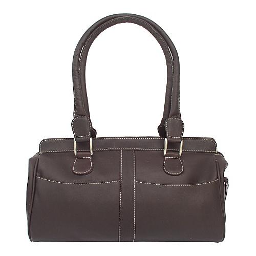 Piel Double Handle Handbag - Chocolate