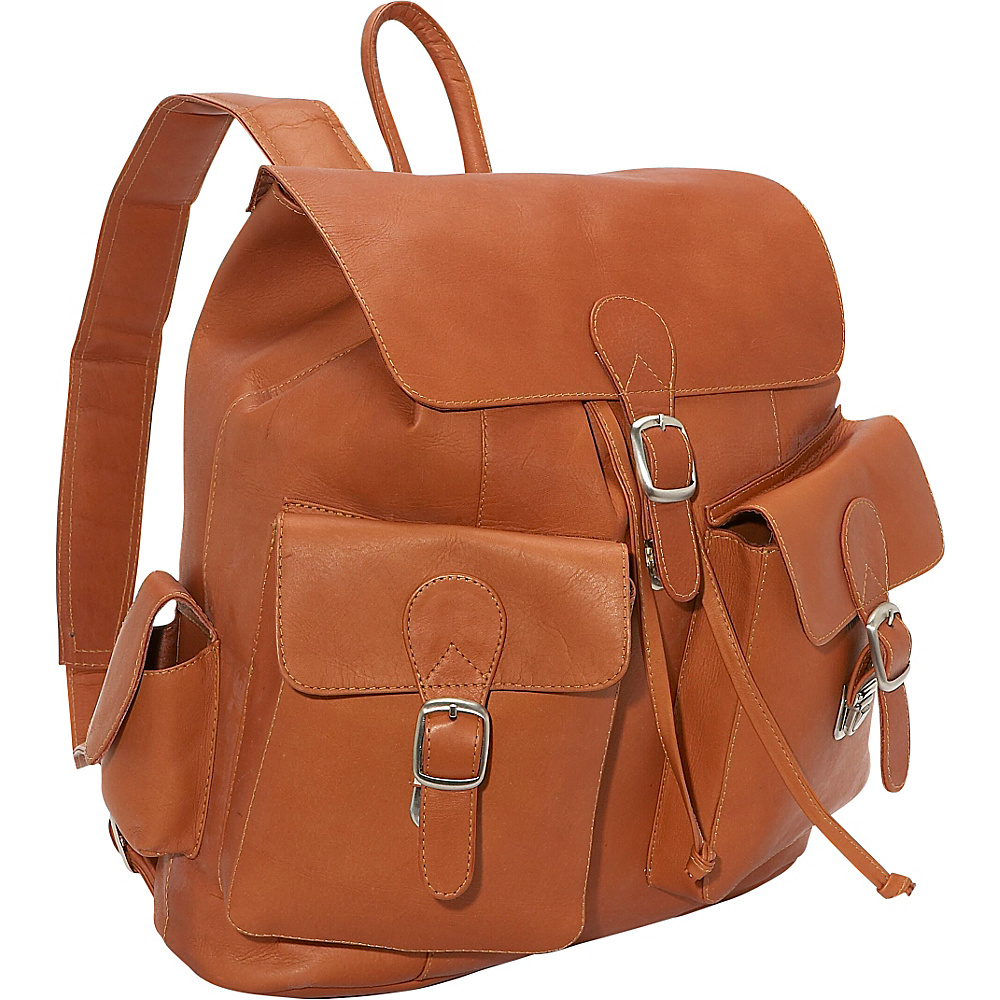 Piel Large Buckle Flap Backpack - Saddle - Handbags, Leather Handbags
