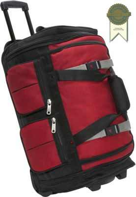 """Image of Athalon 15-Pocket 22"""" Wheeling Duffel Red/Blk - Athalon Large Rolling Luggage"""