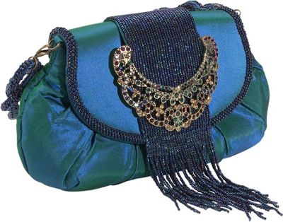 Inge Christopher Jewel Buckle Silk Frame Bag