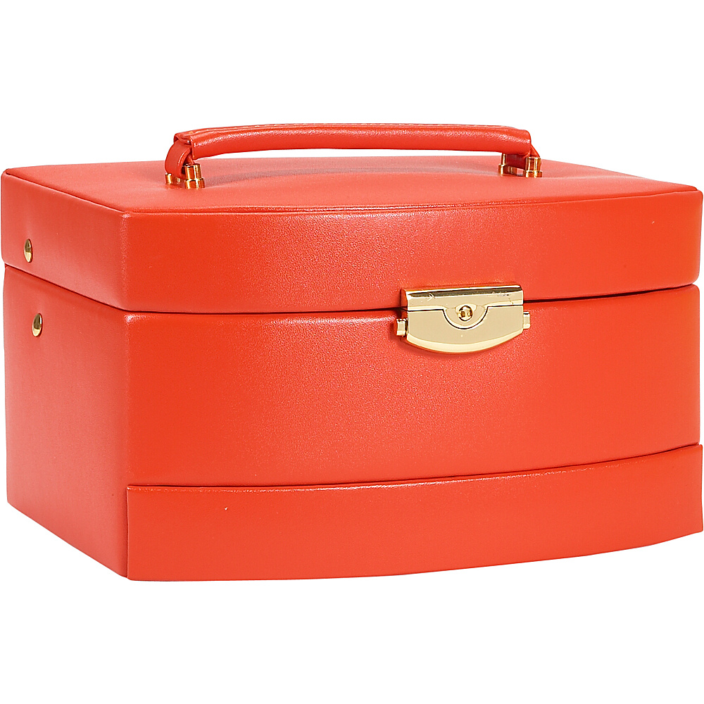 Budd Leather Leather Large Auto Open Jewel Box Orange