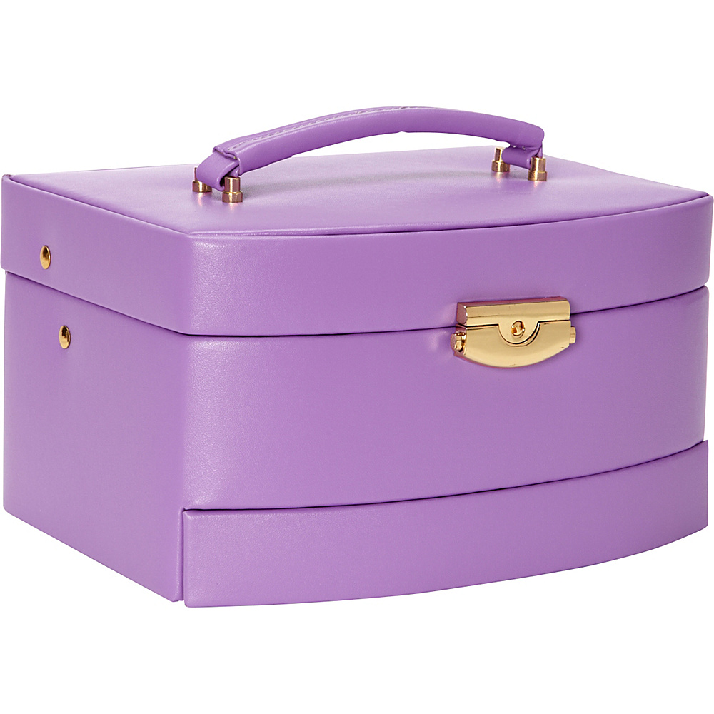 Budd Leather Leather Large Auto Open Jewelry Box Purple Budd Leather Business Accessories