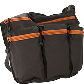 Brown Diaper Bag with Orange Zippers Brown