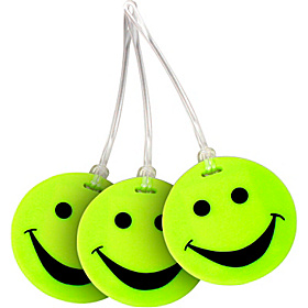 Set of 3 Neon Smiley Face Luggage Tags Neon Yellow