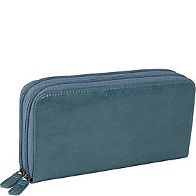 Distressed Leather Double Zip Around Wallet Blue