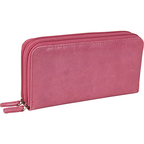 Budd Leather Distressed Leather Double Zip Around Wallet Pink - Budd Leather Ladies Clutch Wallets
