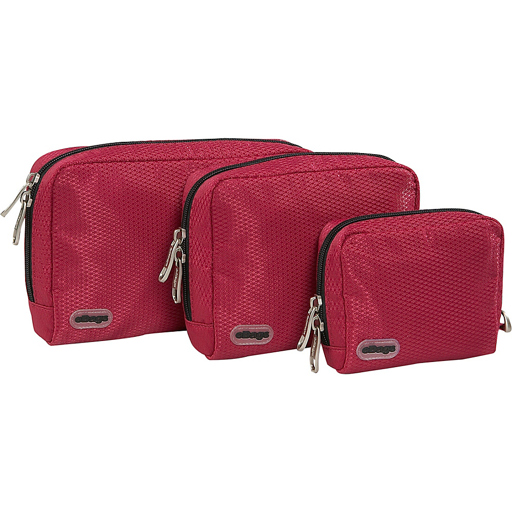eBags Padded Pouches 3 pc Set Raspberry