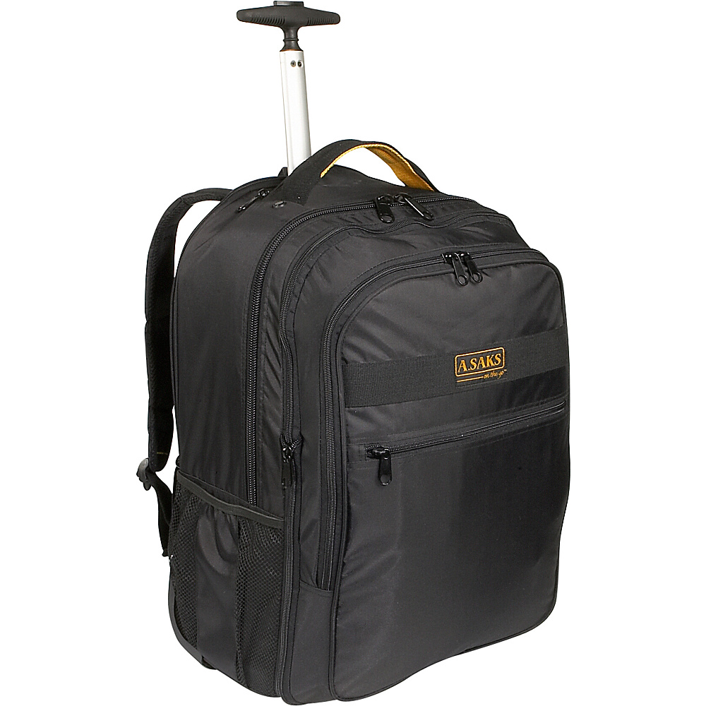 A. Saks EXPANDABLE Trolley Laptop Backpack - Black - Backpacks, Rolling Backpacks