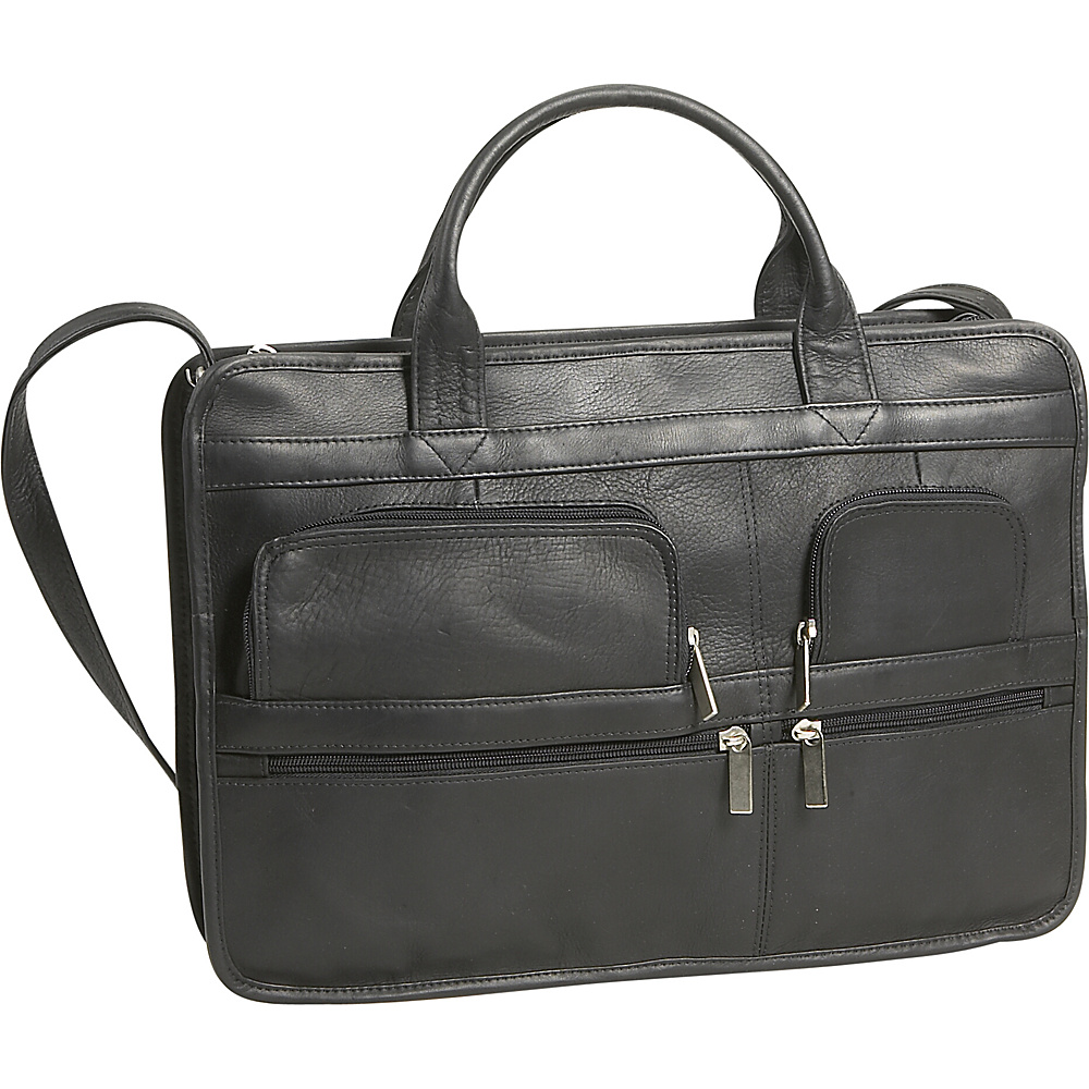 David King & Co. Multi Pocket Organizer Brief - Black - Work Bags & Briefcases, Non-Wheeled Business Cases
