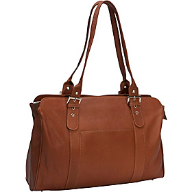 Ladies Buckle Laptop Tote Saddle