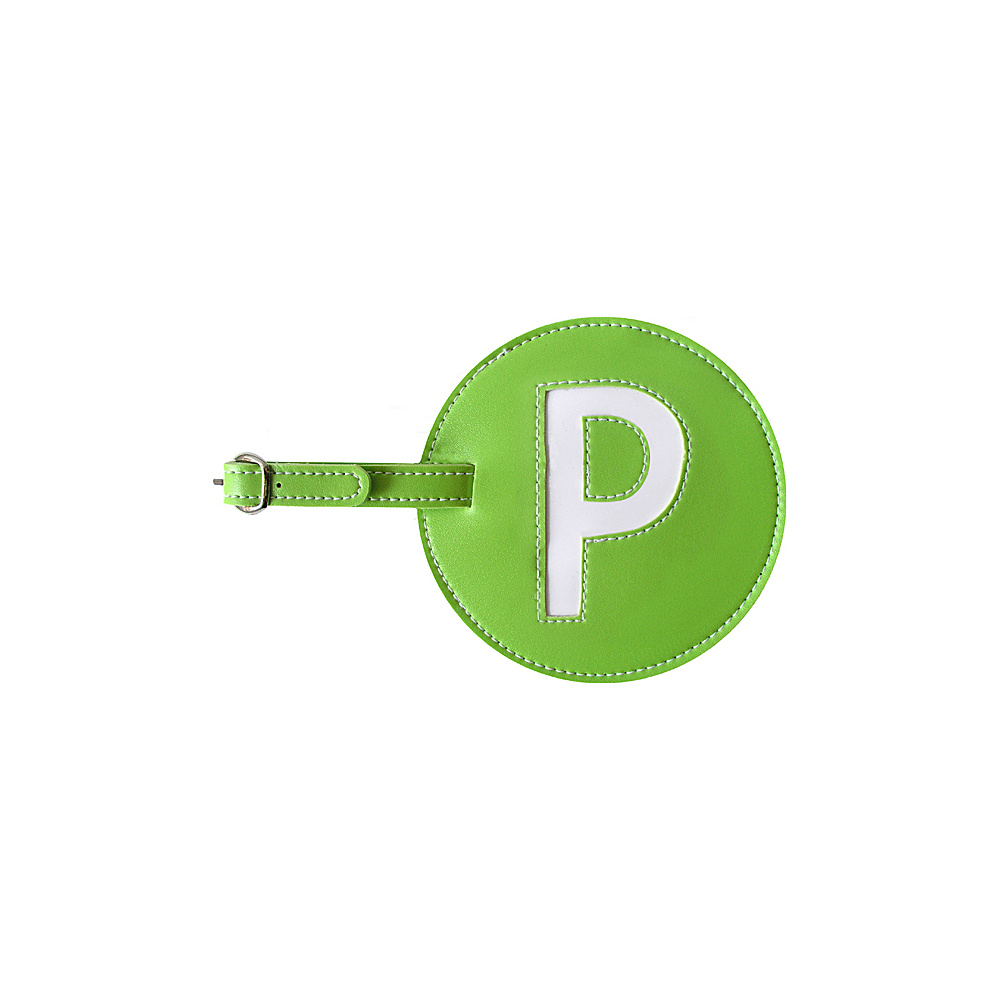 pb travel Initial P Luggage Tag Set of 2 Green pb travel Luggage Accessories