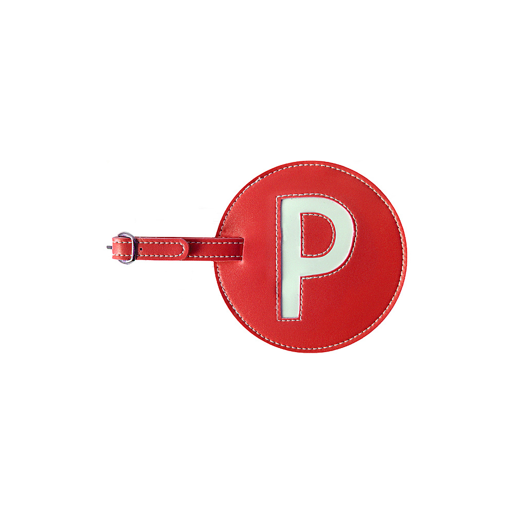 pb travel Initial P Luggage Tag Set of 2 Red pb travel Luggage Accessories