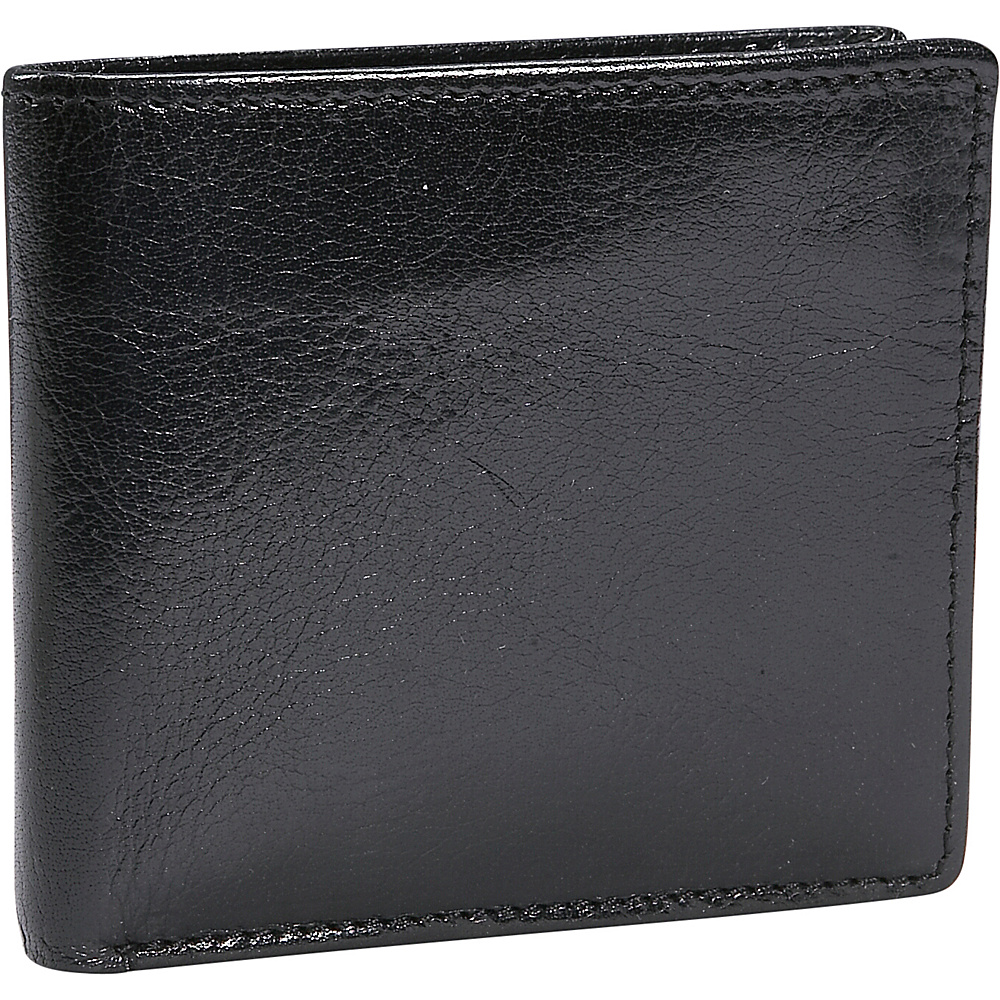 Leatherbay Double Fold Leather Wallet w/Pocket - Black - Work Bags & Briefcases, Men's Wallets