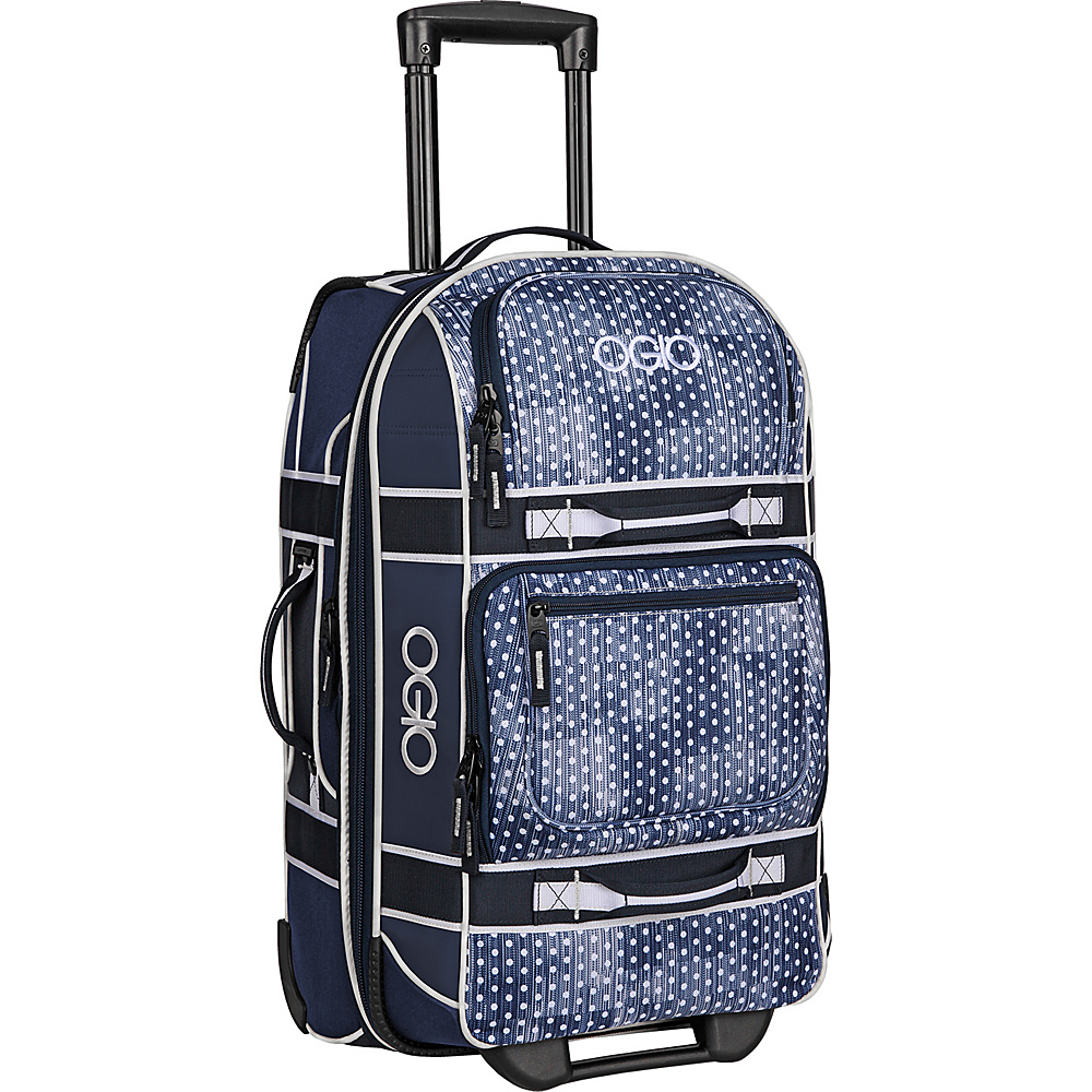 OGIO Layover 22 Rolling Carry On Navy Polkadot White OGIO Softside Carry On