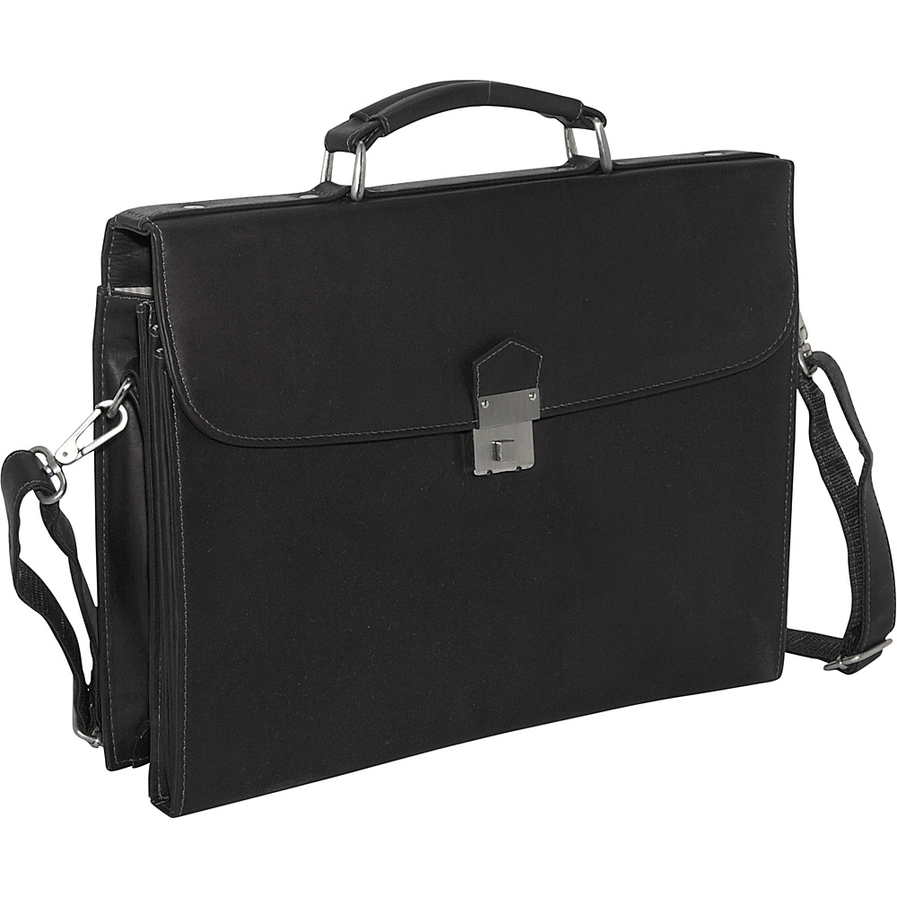 Piel Step-Down Portfolio - Black - Work Bags & Briefcases, Non-Wheeled Business Cases