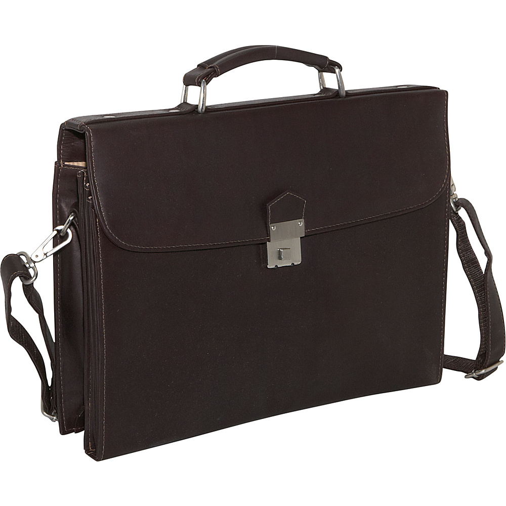 Piel Step-Down Portfolio - Chocolate - Work Bags & Briefcases, Non-Wheeled Business Cases