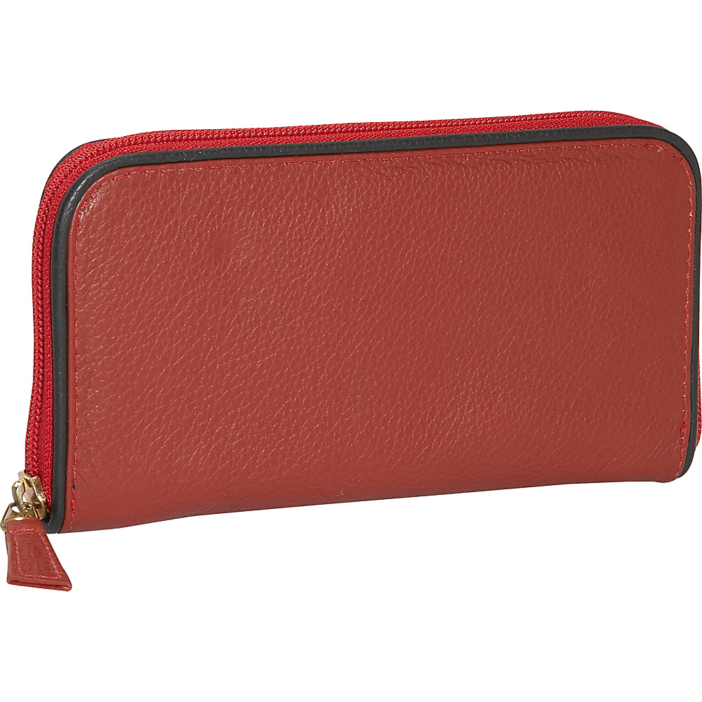J. P. Ourse Cie. Roomy Zip Clutch Wallet Berry