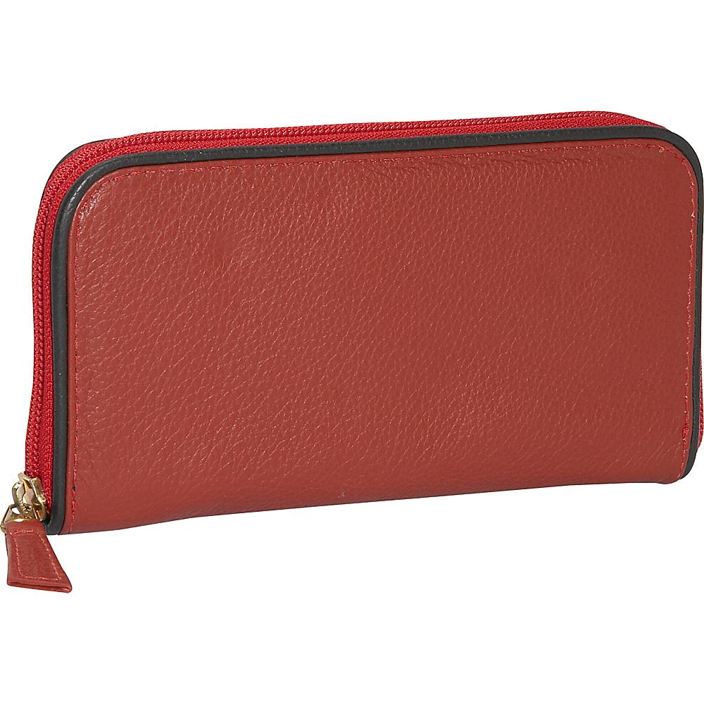 J. P. Ourse & Cie. Roomy Zip Clutch Wallet - Berry - Women's SLG, Women's Wallets