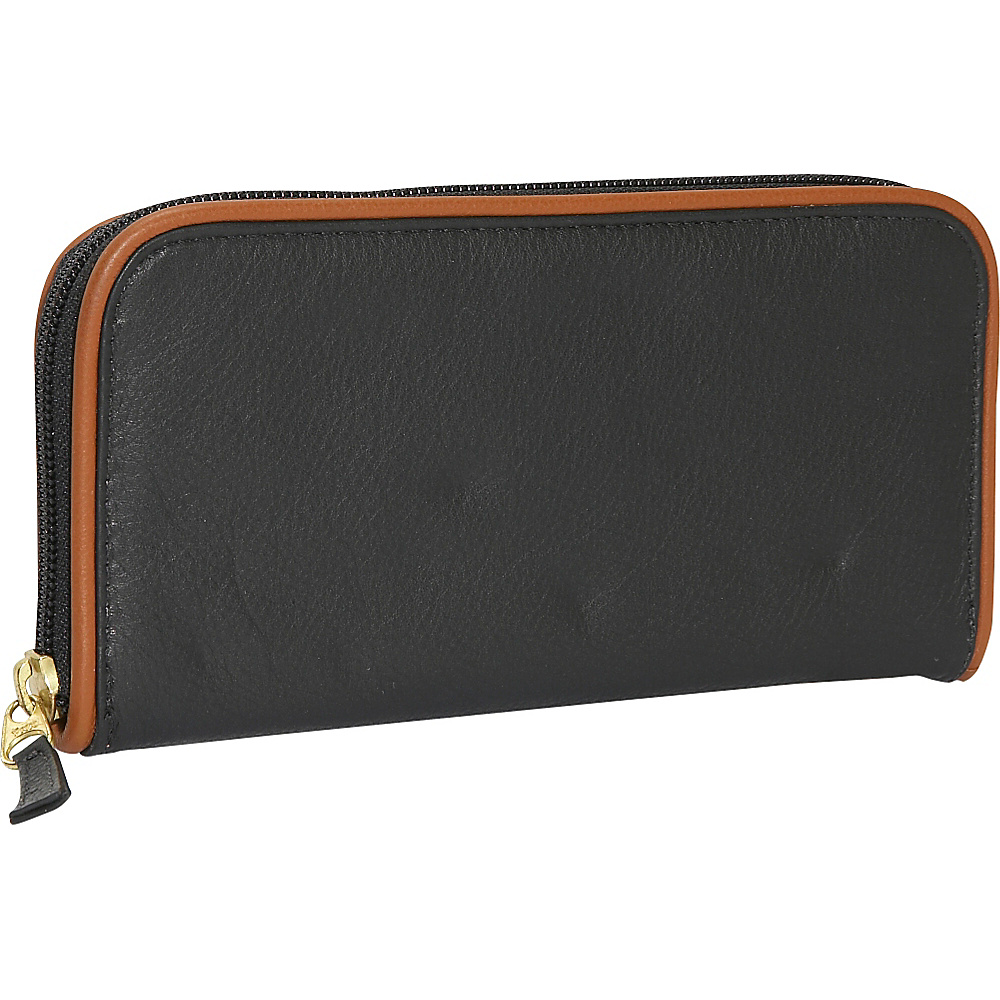 J. P. Ourse Cie. Roomy Zip Clutch Wallet Black Tan