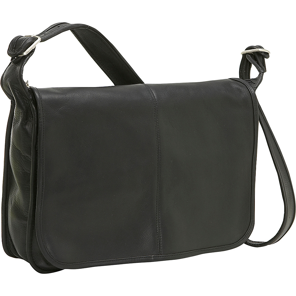 Le Donne Leather Classic Messenger - Black - Work Bags & Briefcases, Messenger Bags