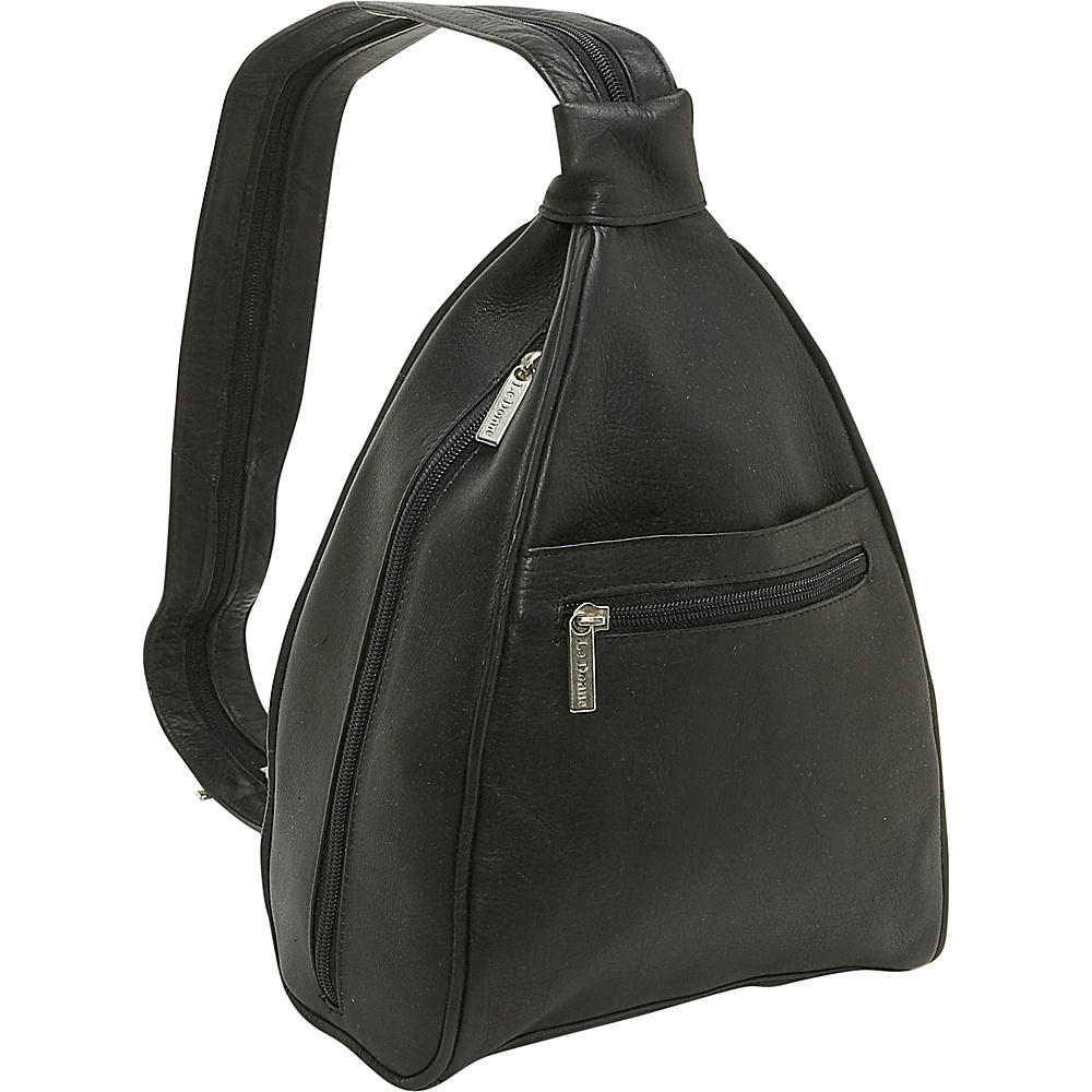 Le Donne Leather Womens Sling Back Pack - Black - Handbags, Leather Handbags