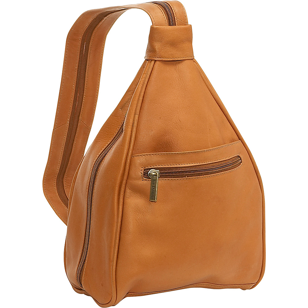Le Donne Leather Womens Sling Back Pack - Tan - Handbags, Leather Handbags